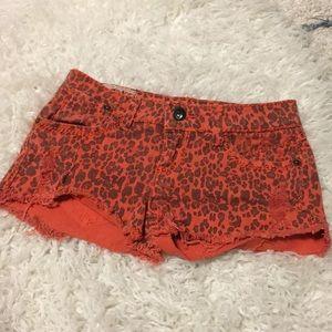 💋4/$50 1st Kiss Denim animal print frayed shorts